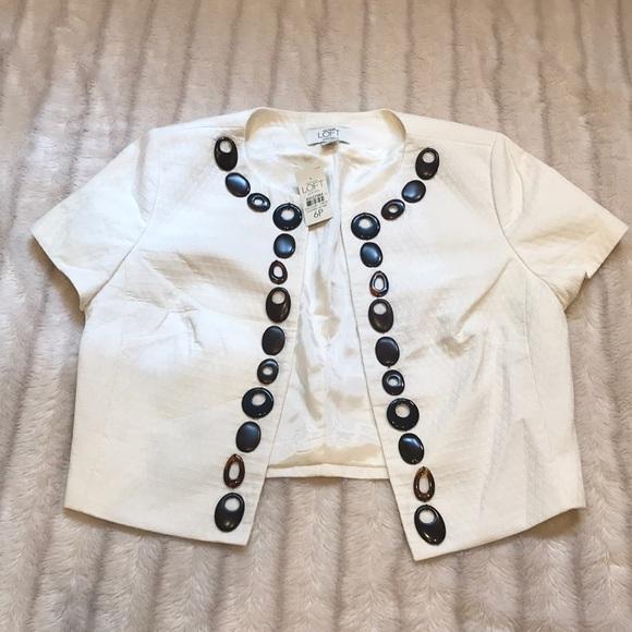 LOFT Jackets & Blazers - NWT Ann Taylor Loft cream beaded jacket, size 6P.